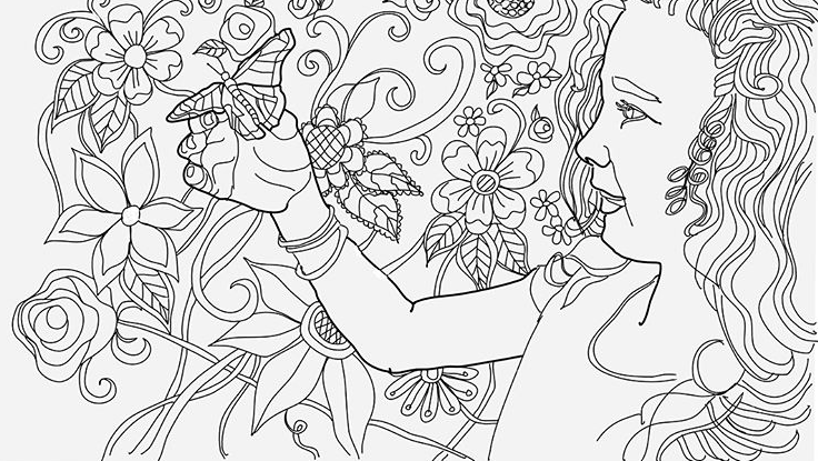 Girl holidng a Butterfly in her hand with a floral background